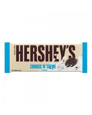 Hersheys Cookies And Cream Bar 43G Barretta Con Cioccolato Bianco E Biscotti