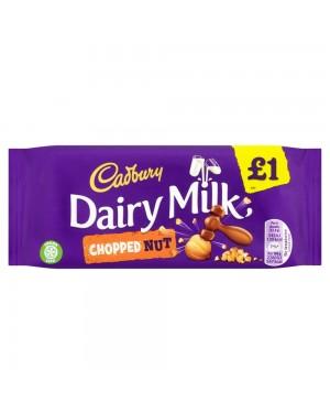 Cadbury Chopped Nut 95G Barretta Di Cioccolato Al Latte Con Nocciole